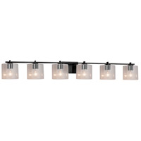 Justice Design FSN-8446-30-SEED-MBLK Fusion 6 Light 57 inch Matte Black Bath Bar Wall Light in Oval Incandescent Seeded