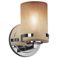 Justice Design FSN-8451-10-CRML-CROM Fusion 1 Light 5 inch Wall Sconce Wall Light in Polished Chrome Caramel Incandescent