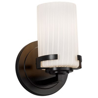 Justice Design FSN-8451-10-RBON-MBLK Fusion 1 Light 5 inch Wall Sconce Wall Light in Matte Black Ribbon Incandescent