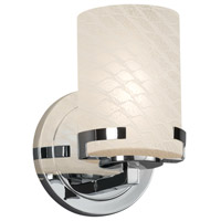 Justice Design FSN-8451-10-WEVE-CROM Fusion 1 Light 5 inch Wall Sconce Wall Light in Polished Chrome Weave Incandescent