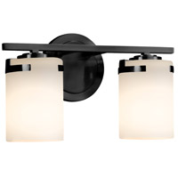 Justice Design FSN-8452-10-OPAL-MBLK-LED2-1400 Fusion LED 14 inch Vanity Light Wall Light in 1400 Lm LED Matte Black Opal