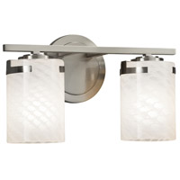 Justice Design FSN-8452-10-WEVE-NCKL Fusion 2 Light 14 inch Vanity Light Wall Light in Brushed Nickel Weave Incandescent