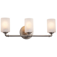 Justice Design FSN-8463-10-FRCR-NCKL Fusion 3 Light 24 inch Brushed Nickel Bath Bar Wall Light in Cylinder with Flat Rim Incandescent Frosted