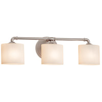 Justice Design FSN-8463-30-OPAL-NCKL Fusion 3 Light 26 inch Brushed Nickel Bath Bar Wall Light in Opal Oval Incandescent