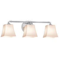 Justice Design FSN-8463-40-OPAL-CROM Fusion 3 Light 26 inch Polished Chrome Bath Bar Wall Light in Opal Square Flared Incandescent