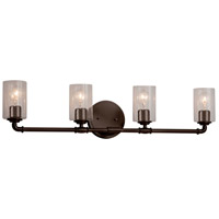 Justice Design FSN-8464-10-SEED-DBRZ Fusion 4 Light 34 inch Dark Bronze Bath Bar Wall Light in Cylinder with Flat Rim Incandescent Seeded