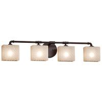 Justice Design FSN-8464-55-WEVE-DBRZ Fusion 4 Light 35 inch Dark Bronze Bath Bar Wall Light in Weave Rectangle Incandescent