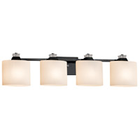 Justice Design FSN-8474-30-OPAL-MBLK Fusion Ardent 4 Light 35 inch Matte Black Bath Bar Wall Light
