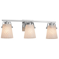 Justice Design FSN-8483-WEVE-CROM Fusion 3 Light 24 inch Polished Chrome Bath Bar Wall Light in Weave, Incandescent
