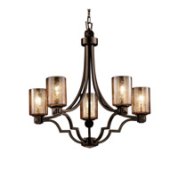 Justice Design Fusion Argyle 5-Light Chandelier in Dark Bronze FSN-8500-10-MROR-DBRZ