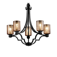 Fusion 5 Light Matte Black Chandelier Ceiling Light in Cylinder with Flat Rim, Mercury Glass
