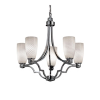 Justice Design FSN-8500-28-WEVE-CROM Fusion 5 Light Polished Chrome Chandelier Ceiling Light in Weave, Tall Tapered Cylinder, Incandescent