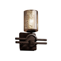 Fusion 1 Light 9 inch Dark Bronze Wall Sconce Wall Light in Cylinder with Flat Rim, Mercury Glass, Fluorescent