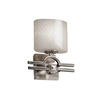 Fusion 1 Light 9 inch Brushed Nickel Wall Sconce Wall Light in Oval, Weave, Fluorescent