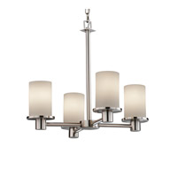 Justice Design Fusion Rondo 4-Light Chandelier in Brushed Nickel FSN-8510-10-OPAL-NCKL