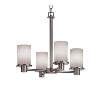 Justice Design FSN-8510-10-WEVE-NCKL Fusion 4 Light 20 inch Brushed Nickel Chandelier Ceiling Light in Weave thumb
