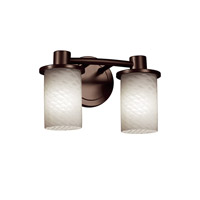 Justice Design FSN-8512-10-WEVE-DBRZ Fusion 2 Light 12 inch Dark Bronze Bath Bar Wall Light in Weave, Incandescent