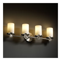 Justice Design Fusion Rondo 4-Light Bath Bar in Brushed Nickel FSN-8514-10-OPAL-NCKL