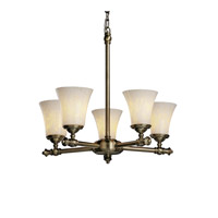 Justice Design FSN-8520-20-DROP-ABRS Fusion 5 Light Antique Brass Chandelier Ceiling Light in Droplet thumb