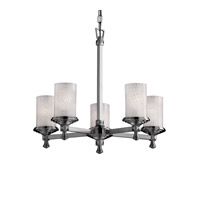 Justice Design FSN-8530-10-WEVE-NCKL Fusion 5 Light 24 inch Brushed Nickel Chandelier Ceiling Light in Weave thumb