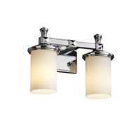Justice Design Fusion Deco 2-Light Bath Bar in Polished Chrome FSN-8532-10-OPAL-CROM