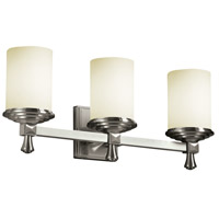 Justice Design Fusion Deco 3-Light Bath Bar in Brushed Nickel FSN-8533-10-OPAL-NCKL