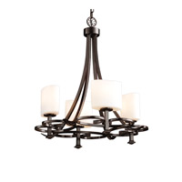 Justice Design FSN-8560-30-OPAL-DBRZ Fusion 4 Light 24 inch Dark Bronze Chandelier Ceiling Light in Oval, Opal, Fluorescent thumb