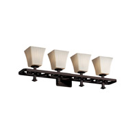 Justice Design Fusion Arcadia 4-Light Bath Bar in Dark Bronze FSN-8564-40-RBON-DBRZ