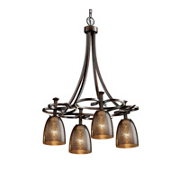 Justice Design FSN-8565-18-MROR-DBRZ Fusion 4 Light 24 inch Dark Bronze Chandelier Ceiling Light in Tapered Cylinder, Mercury Glass, Fluorescent thumb