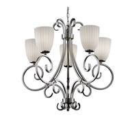 Fusion 5 Light Brushed Nickel Chandelier Ceiling Light in Tapered Cylinder, Ribbon, Fluorescent