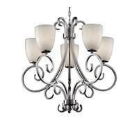 Fusion 5 Light Brushed Nickel Chandelier Ceiling Light in Tapered Cylinder, Weave, Fluorescent
