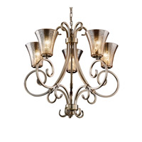 Justice Design FSN-8570-20-MROR-ABRS Fusion 5 Light Antique Brass Chandelier Ceiling Light in Mercury Glass, Round Flared, Incandescent