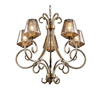Justice Design FSN-8570-22-MROR-ABRS Fusion 5 Light Antique Brass Chandelier Ceiling Light in Inverted Cone, Mercury Glass, Fluorescent photo thumbnail