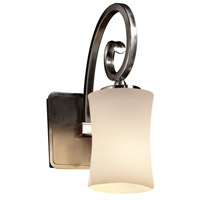 Justice Design FSN-8571-60-OPAL-NCKL Fusion Victoria 1 Light 5 inch Brushed Nickel Wall Sconce Wall Light in Opal Hourglass Incandescent