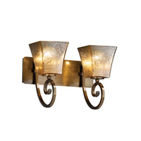 Justice Design FSN-8572-40-MROR-ABRS Fusion 2 Light 16 inch Antique Brass Bath Bar Wall Light in Square Flared, Mercury Glass, Fluorescent photo thumbnail