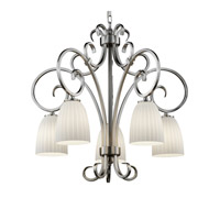 Justice Design Fusion Victoria 5-Downlight Chandelier in Brushed Nickel FSN-8575-18-RBON-NCKL