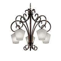Justice Design Fusion Victoria 5-Downlight Chandelier in Dark Bronze FSN-8575-22-WEVE-DBRZ
