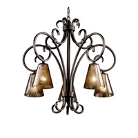 Justice Design Fusion Victoria 5-Downlight Chandelier in Dark Bronze FSN-8575-50-MROR-DBRZ