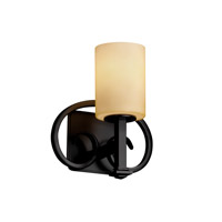 Justice Design FSN-8581-10-ALMD-MBLK Heritage 1 Light 9 inch Matte Black Wall Sconce Wall Light in Fluorescent, Almond, Cylinder with Flat Rim photo thumbnail
