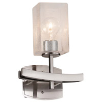Justice Design FSN-8591-10-SEED-NCKL Fusion 1 Light 9 inch Brushed Nickel Wall Sconce Wall Light in Cylinder with Flat Rim, Incandescent, Seeded