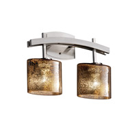 Fusion 2 Light 16 inch Brushed Nickel Bath Bar Wall Light in Mercury Glass, Oval, Incandescent