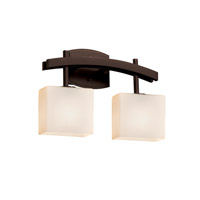 Fusion LED 16 inch Dark Bronze Vanity Light Wall Light in 1400 Lm 2 Light LED, Opal, Rectangle
