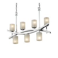 Archway 7 Light 6 inch Polished Chrome Chandelier Ceiling Light in Fluorescent, Weave, Cylinder with Flat Rim