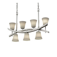 Justice Design Archway 7 Light Chandelier in Brushed Nickel FSN-8598-20-OPAL-NCKL