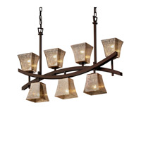 Archway 7 Light 6 inch Dark Bronze Chandelier Ceiling Light in Fluorescent, Mercury Glass, Square Flared
