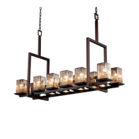 Justice Design Fusion Montana 12-Up & 5-Downlight Bridge Chandelier (Tall) in Dark Bronze FSN-8619-15-MROR-DBRZ