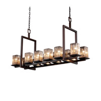 Justice Design Fusion Montana 12-Up & 5-Downlight Bridge Chandelier (Short) in Dark Bronze FSN-8620-15-MROR-DBRZ