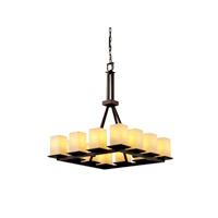 Justice Design Fusion Montana 12-Light Ring Chandelier (Tall) in Dark Bronze FSN-8663-15-OPAL-DBRZ