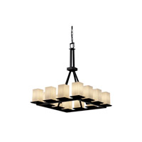 Justice Design Fusion Montana 12-Light Ring Chandelier (Tall) in Matte Black FSN-8663-15-RBON-MBLK