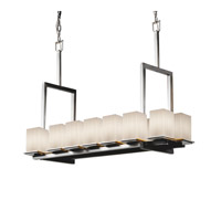 Justice Design Fusion Montana 14-Light Bridge Chandelier (Tall) in Brushed Nickel FSN-8664-15-RBON-NCKL